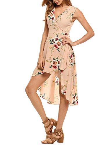 Mousseline Profond Femme Et Col sans Robe Imprime Manche Robe V Zeagoo Rose Asymtrique Floral R6vCq8
