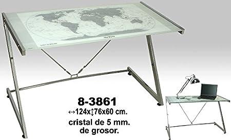 DRW Mesa de Metal mapamundi Cristal, ácido, 124x60x76cm: Amazon.es ...