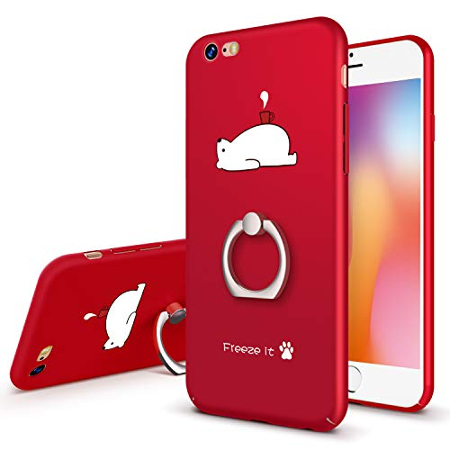 GVIEWIN Cute iPhone 6 Case iPhone 6s Case with Ring Stand, Hard Plastic Ultra-Thin & Rugged Anti-Fingerprints Matte Phone Case for iPhone 6 / iPhone 6s (4.7 inch) - Bear/Red - Postcards Package Cute
