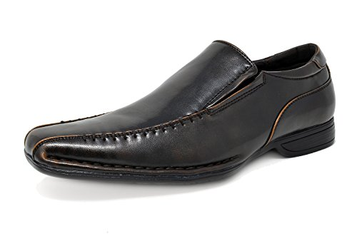 Bruno MARC GIORGIO-2 Men's Classic Square Toe Leather Lined Stretch Insert Slip On Dress Loafers Shoes Dark-Brown SIZE 13