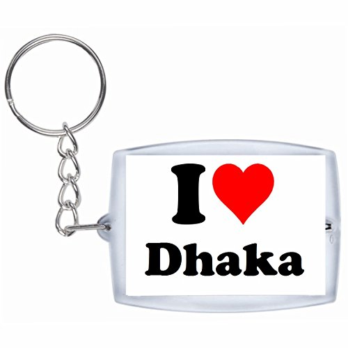 "Exclusive Gift Idea: Keyring ""I Love Dhaka"" in White, a Great gift that comes from the Heart - Backpack pendant - love pendant - Keychains- Keyring- Christmas Gift -  Druckerlebnis24, schl_weiss_148725"