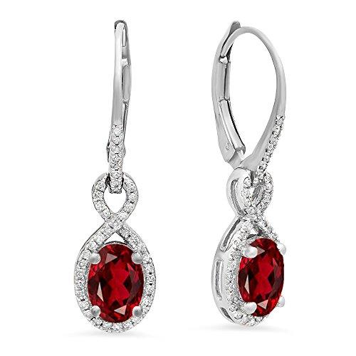 (Dazzlingrock Collection 10K Oval Garnet & Round White Diamond Ladies Infinity Dangling Earrings, White Gold)