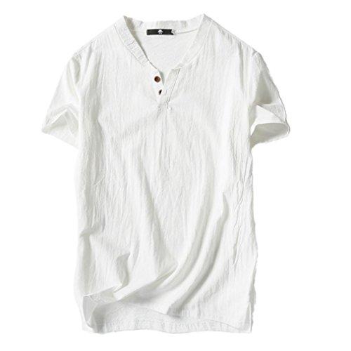 A Bianco Camicetta Corta Manica Lino Top Uomo Con V T Subfamily E Uomo casual Per shirt Scollo Cotone z6wazxTFqn