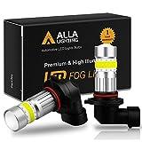 Alla Lighting H10 9145 LED Fog Light Bulb 2800 Lumens Xtreme Super Bright CANBUS COB-72 SMD 9140 9045 9155 LED Bulbs Fog Lights for Cars, Trucks, 6000K Xenon White