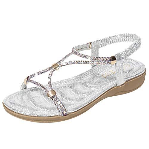♖Loosebee♜ Women'S Comfortable Pinch Flat Bottom Bohemian Rhinestone Sandals Sandals