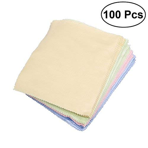 (ROSENICE Cleaning Cloth for Eyeglasses Camera Lens Jewelry Cleaing 100Pcs)