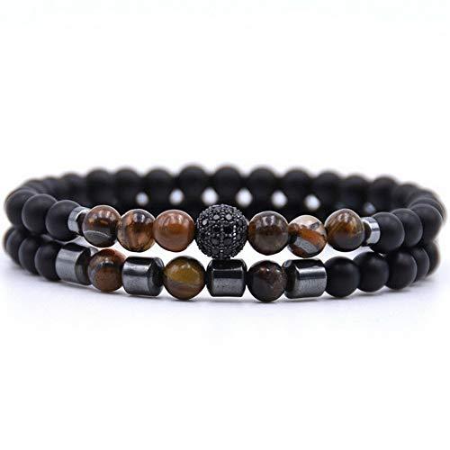 - Gatton 2Pcs/Sets Natural Stone Bracelets Micro Pave CZ Bracelets Women Men Jewelry Gift | Model BRCLT - 41549 |