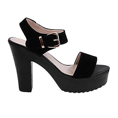 Sandalias de Tacón alto Para Mujer Zapatos de Tacón Alto Peep Toe Negro