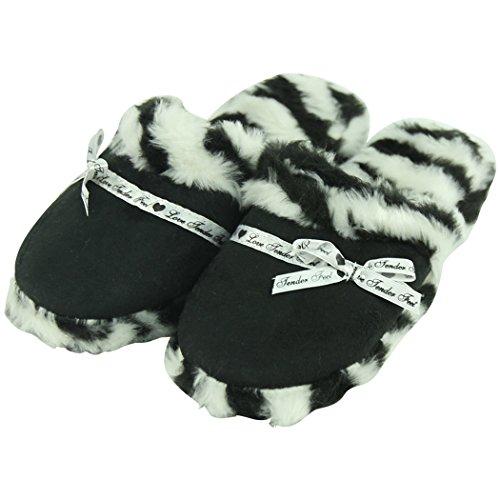 Casa Pantofole Donne Inverno Caldo Coperta Casa Isolato Giù Trapuntato Pantofole Muli Zebra Stampe