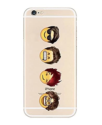 iPhone 6 Case, DECO FAIRY® Protective Case Bumper[Scratch-Resistant] [Perfect Fit] Translucent Silicone Clear Case Gel Cover for Apple iPhone 6 4.7 (Four Cartoon Boys iPhone 6 (One Direction 5sos Iphone 6 Case)