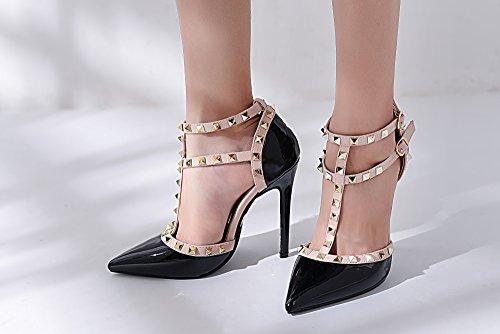 Mila Dame Ether08 To -tone Patent Strappy Ankelen Med Stud Eleganse Plattform Dame Heeled Pumper Sko! Svart