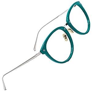 TIJN Vintage Optical Eyewear Non-prescription Eyeglasses Frame with Clear Lenses (Green, 52-18-140)