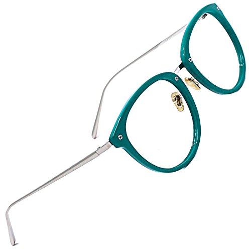 TIJN Vintage Optical Eyewear Non-prescription Eyeglasses Frame with Clear Lenses (Green, 52-18-140)