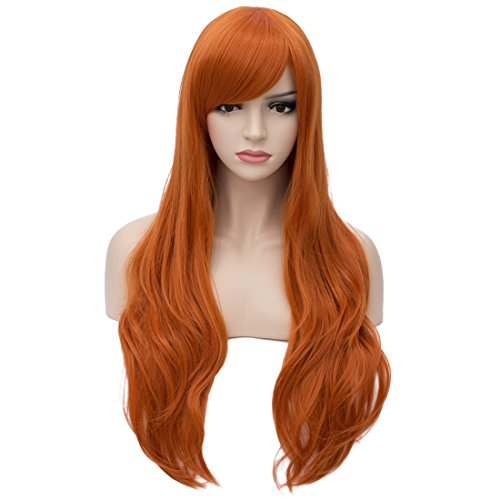 Orange Blossom Halloween Costume (Aosler Women's Orange Long Wig,26 Inches Curly Synthetic Hair Wigs - Heat Friendly Cosplay Party Costume Wigs for)
