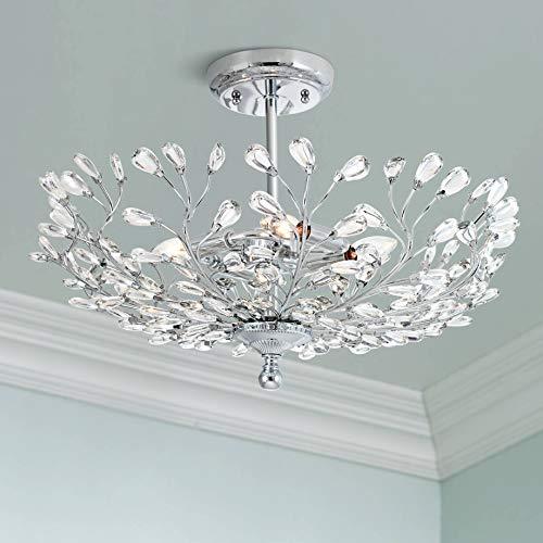 (Brielle Modern Ceiling Light Semi Flush Mount Fixture Chrome Vine Bowl 18 1/2