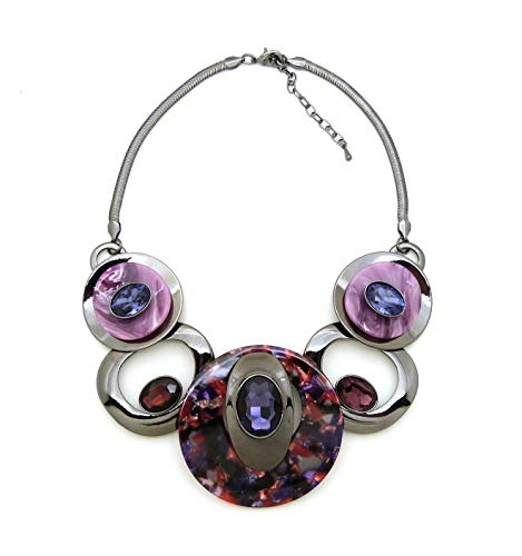 Long Oval Link - Fashion 21 Women's Celluloid Acetate Oval Disc Glass Stone Metal Link Statement 17