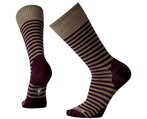 Smartwool Men's Stria Crew Socks (Bordeaux) Large