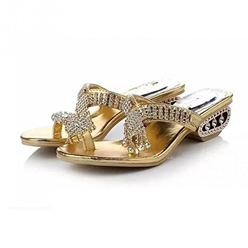 Romance-and-Beauty 2018 Summer Hot Gold/Silver Czech Rhinestone Flip Flops Women Sandals Slippers Hollow Out Low Heel Shoes (Kevin Durant Shoes 2018)