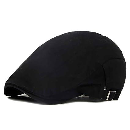 Bobury Primavera verano hombres algodón tapa cálida boina sombrero liso  diseño plana superior boina tapa a292383062b