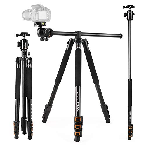 Andoer TTT-004 Camera Tripod Monopod for DSLR ILDC Cameras, 78.7inch Horizontal Tripod with 360° Ball Head and Rotatable Center Column, 4-Section Aluminum Alloy Tripod Max. Load Capacity 8kg