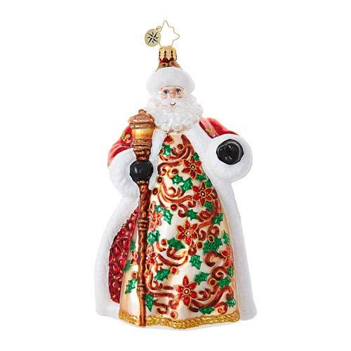 Christopher Radko Poinsettia Passion Santa Claus Christmas Ornament from Christopher Radko