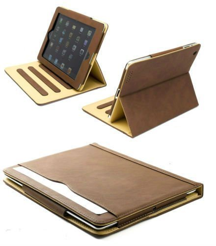 (S-Tech Apple iPad 2 3 4 Generation Brown Soft Leather Wallet Smart Cover with Sleep / Wake Feature Flip Case )