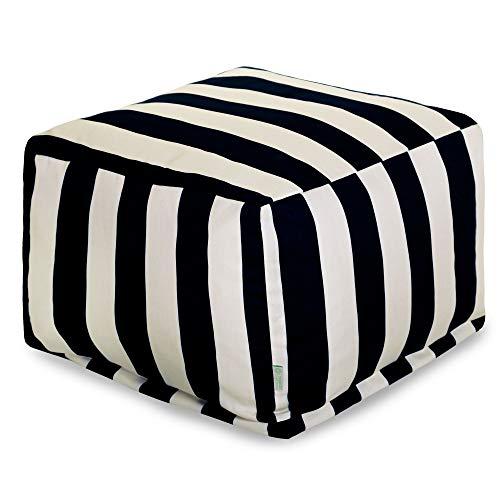 - Majestic Home Goods 85907220223 Vertical Stripe-Black Ottoman, Pouf, Cube, Large,