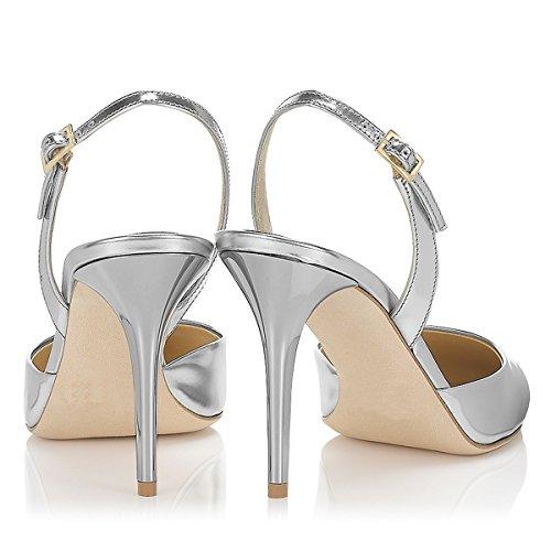 Pointed 4 Stiletto Toe Heel Slingback US Women 15 FSJ Dress Ankle Shoes Strap Size Pumps Silver HC5qn7xw