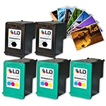 LD Remanufactured Ink Cartridge Replacements for HP CB335WN (HP 74) Black and HP CB337WN (HP 75) Color (3 Black and 2 Color) + Free 20 Pack of Brand 4x6 Photo Paper