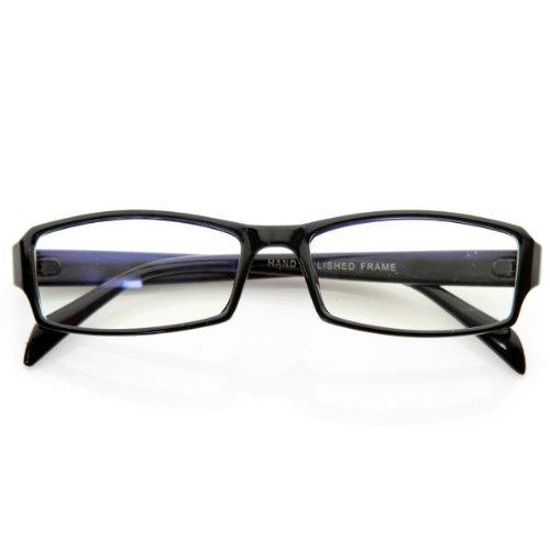 Plastic Frame Fashion (zeroUV - Modern Rectangular Basic Frame Clear Lens Fashion Small Frame Glasses (Black))