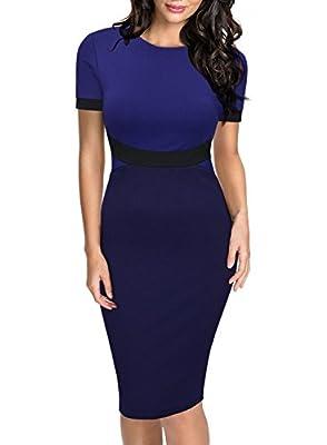 Miusol Women's Official Scoop Neck Optical Illusion Short Sleeve Business Midi Dress