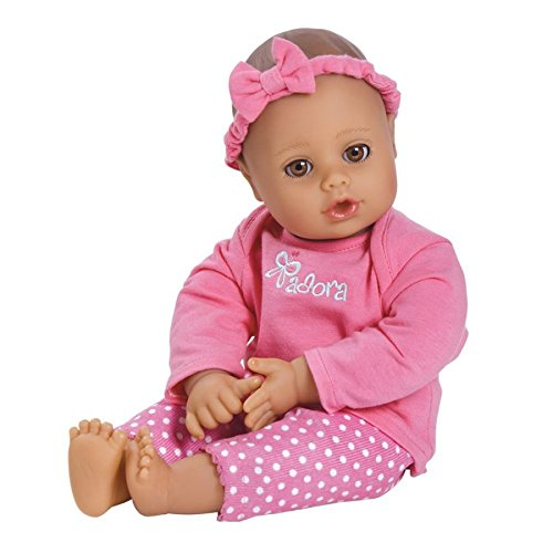 "Adora PlayTime Baby Pink Vinyl 13"" Girl Weighted Washable Cuddly Snuggle Soft Toy Play Doll Gift Set with Open/Close Eyes for Children 1+ Includes Bottle"