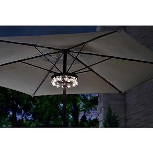Hampton Bay 10 in. Diameter 12-Pices Long-Lasting Super-Bright LED Clamps to Pole Battery Operated Umbrella Lighting with Remote Control