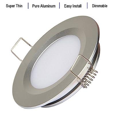 acegoo RV Boat Recessed Ceiling Light 4 Pack Super Slim LED Panel Light DC 12V 3W Full Aluminum Downlights, Warm White (Silver): Automotive