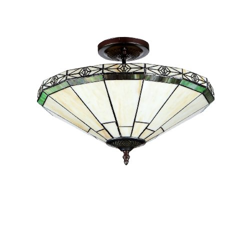 Chloe Lighting Chloe Lighting Belle 2-Light Tiffany Style Mission Semi Flush Ceiling Fixture with 16 in. Shade by Chloe Lighting (Image #1)