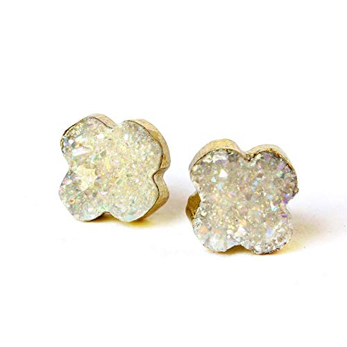 (14k Gold Plated Handmade Raw White Agate Druzy Geode Stud Earrings)
