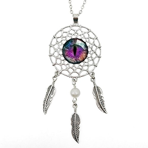 Sterling Silver Plating Dream Catcher Purple Justice Dragon Eye Glass Cabochon Dangling Feather & Wings Tassel Pendant Necklace