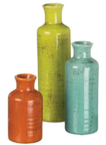 Sullivans 5-10″ Set of 3 Decorative Crackled Vases in Orange, Green, and Blue
