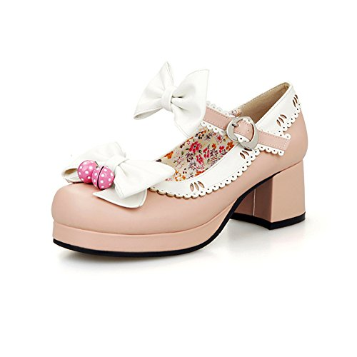 Lucksender Womens Super Cute Ankle Strap Chunky Heel Pumps Shoes with Bowknot Pink