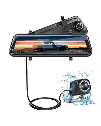 Front and Rear View Mirror Dash cam - 10 Inch Full Touch Screen 1080P Streaming Media Backup Camera with Night Vision and Waterproof
