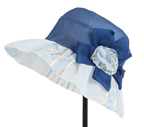 Seda Sombrero Un Sol Marrón Al Azul Tamaño El Plegable Con Aire Tamaño Para De Viaje Mujer Libre color FzrFWq
