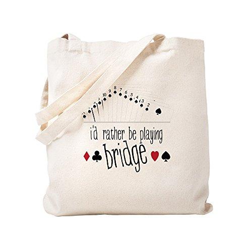 (CafePress Playing Bridge Natural Canvas Tote Bag, Cloth Shopping Bag )