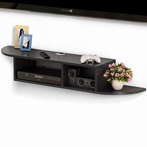 Tribesigns 2 Tier Modern Wall Mount Floating Shelf TV Console 43.3x9.4x7 inch for Cable Boxes/Routers/Remotes/DVD Players/Game Consoles (Black-1)