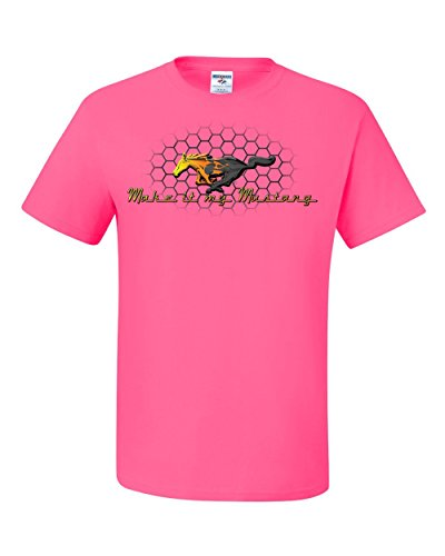 Wild Bobby Ford Make It My Mustang Honeycomb Grill Officially Licensed Tee Graphic T-Shirt - ( 2XL , Neon Pink )