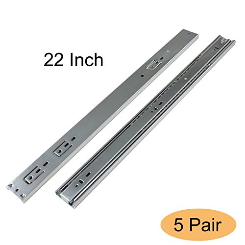 Gobrico Hardware 22 Inch Soft Self Close Full Extension Heavy Drawer Slides 3Folds 5Pair,Ball Bearing