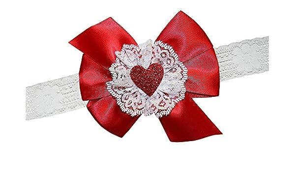 e34c817527a5f Amazon.com  WD2U Baby Girls Red Satin   Lace Glittered Heart Valentines  Hair Bow Headband  Clothing