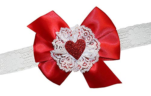 - WD2U Baby Girls Red Satin & Lace Glittered Heart Valentines Hair Bow Headband