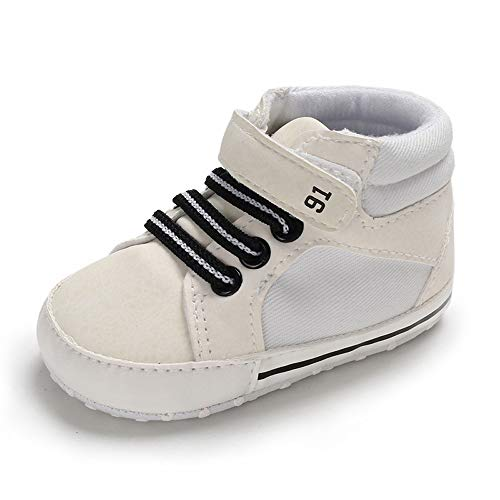 Infant Soft Sole Shoe - Tutoo Unisex Baby Boys Girls Star High Top Sneaker Soft Anti-Slip Sole Newborn Infant First Walkers Canvas Denim Shoes (6-12 Months M US Infant, B01-white)