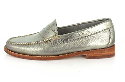 Penny Metallic Leather Co Womens G amp; Whitney Silver Bass H Loafer wYqxaz