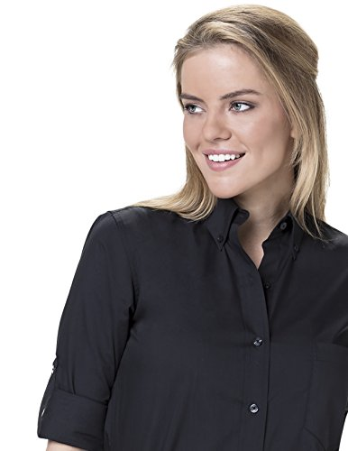 (Server Shirts Women's Button-Down Shirt Regular Fit Rollup Sleeve Button Down Collar With Pocket, Black, Small)